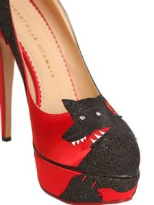 "Coveting this Charlotte Olympia red satin pumps called ""Big Bad Wolf."" Fitting."